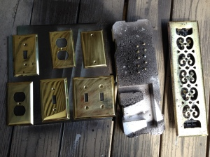 Here are some brass (some are fake brass) they have rusted over the years.  I sand them a little to get the rust off and rough up the surface.  I stick screws in a fit of foam.