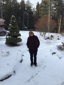 Final shot of me in my gardens - I will miss them, especially my spiral trees.