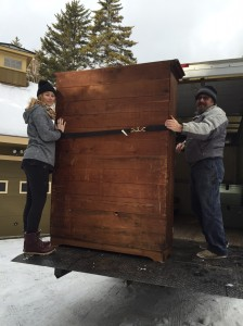 I was able to borrow the moutain's box truck with a lift. Life and back saver! We did keep a few pieces of furniture.